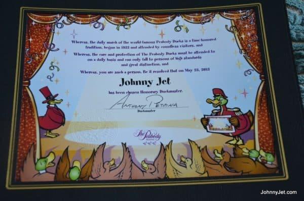 My Honorary Duckmaster certificate