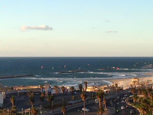 Tel Aviv kite surfing on the Mediterranean Sea