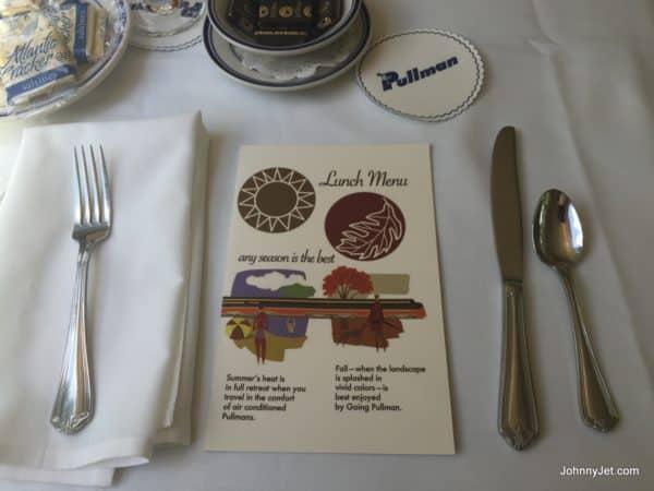 Pullman Rail Journeys lunch menu