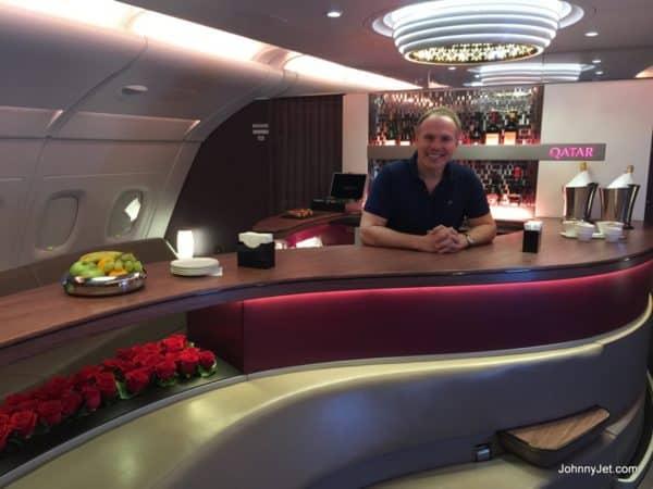 Tending bar on Qatar Airways A380