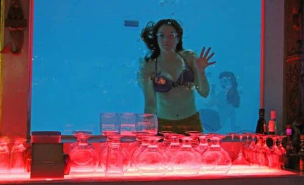 """""""Mermaid"""" swimming behind the Sip 'N Dip Lounge (Credit: Bill Rockwell)"""