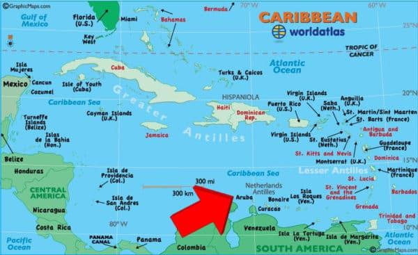 Where's Aruba? (Underlying map credited to worldatlas.com)