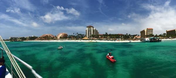 The Hyatt Regency Aruba from the water