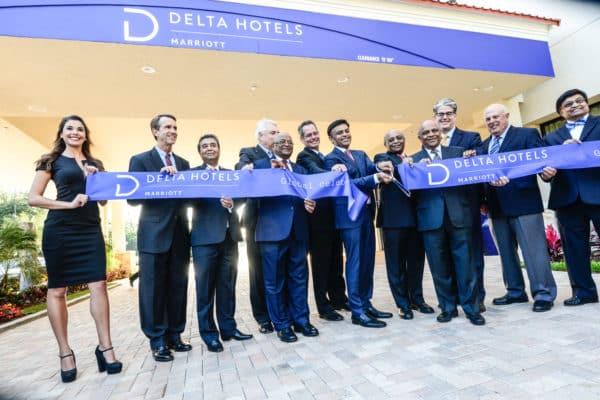 Ribbon-cutting ceremony marking the grand opening of the Delta Orlando Lake Buena Vista Hotel