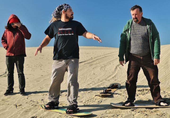 Sandboarding with world champion Gabe Cruz (Credit: Bill Rockwell)