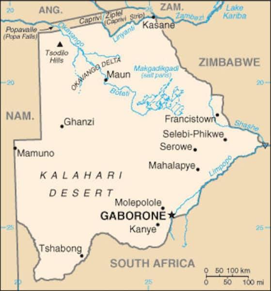 A map of Botswana