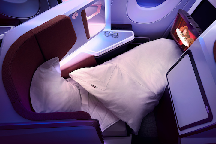 An Upper Class seat laid flat on the A350-1000 (Credit: Virgin Atlantic)