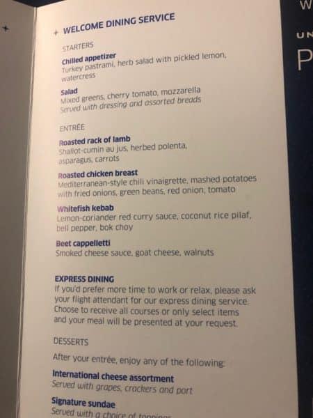 Dinner menu on the return flight