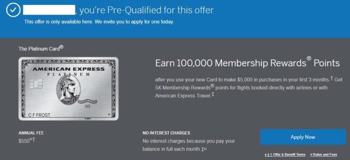 american express platinum 100k