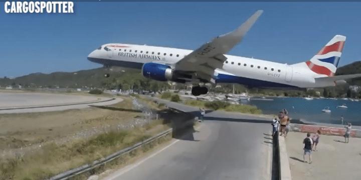 Incredible low landing by British Airways E190 at Skiathos Airport