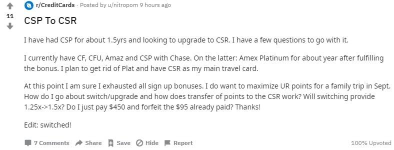 Reddit credit cards