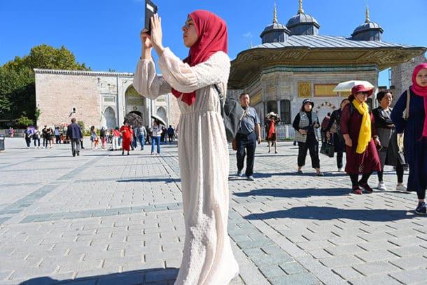 Visitor photographing Hagia Sophia