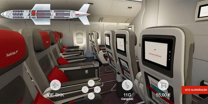 Austrian Airlines 3-D seat map