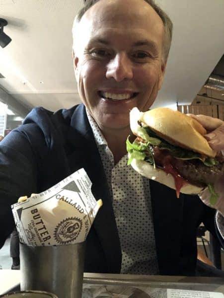 Eating a hamburger in Hamburg!
